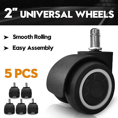 AU25.90 • Buy 2  Swivel Casters Wheels Office Gaming Chair Wheel Rubber Replacement Floor 5pcs