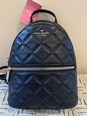 $ CDN164.22 • Buy Kate Spade Natalia Mini Convertible Leather Backpack Quilted Black Bag Purse NWT