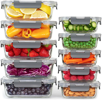 £32.99 • Buy Glass Food Storage Containers With Lids - 10 Airtight Food Storage Containers