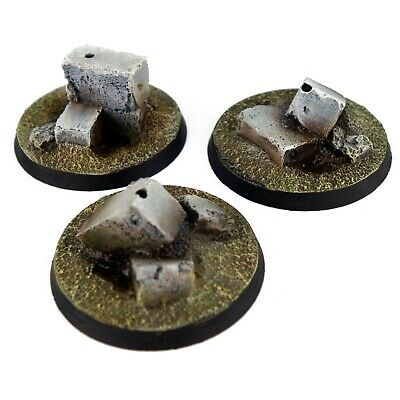 £4.79 • Buy 3x Resin Flying Bases -  40mm ROUND (A) - Ruins City Urban Trenches Walls 40k