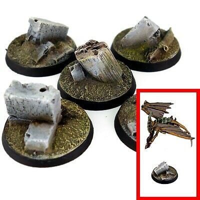 £4.79 • Buy 5x Resin Flying Bases -  32mm ROUND (A) - Ruins City Urban Trenches Walls 40k