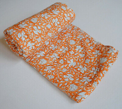 £24.21 • Buy 100% Cotton Kantha Floral Print Bedspread Blanket Quilt Bedding Cover Twin Size