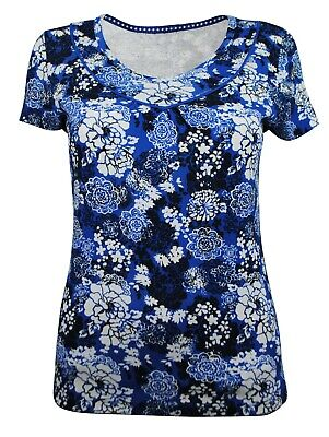£7.97 • Buy Womens Debenhams Maine Top Short Sleeve White Floral Print Blue Size 8 To 22