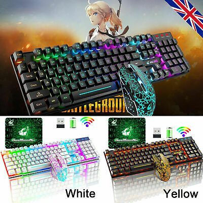 AU56.89 • Buy AU Wireless Gaming Keyboard And Mouse Set Rainbow Backlit For PC Laptop PS4 Xbox