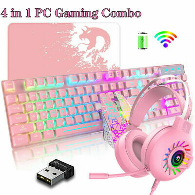 AU92.88 • Buy Wireless PC Gaming Keyboard Mouse And Headset Combo RGB Backlit For Computer PS4