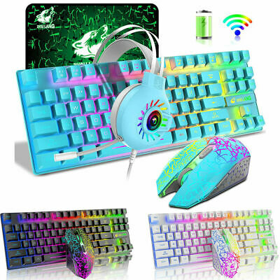 AU88.89 • Buy  Wireless Gaming Keyboard Mouse And Wired Headset Combo RGB Backlit For PC PS4