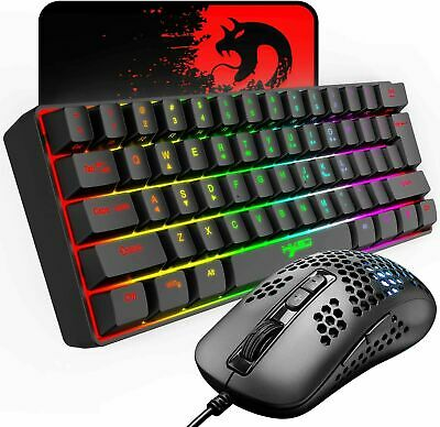 AU55.89 • Buy 60% Wired Compact Gaming Keyboard 61 Keys + 6400 DPI Gaming Mouse Combo RGB LED