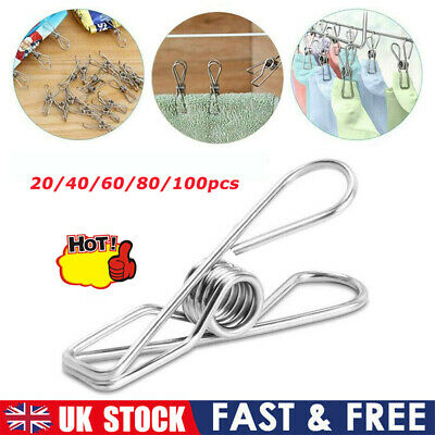 £4.88 • Buy Stainless Steel Washing Line Clothes Pegs Hang Pins Metal Wire Clips Fixed Clip.