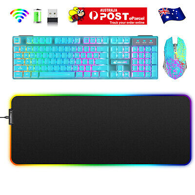 AU63.55 • Buy Rechargeable Wireless Gaming Keyboard Mouse And Mat RGB Backlit For PC PS4 MAC