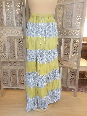£14 • Buy Patchwork Cotton Long Maxi Skirt Tiered Boho Hippy Ethnic Yellow Flowers