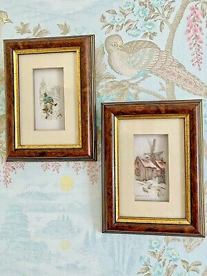 £12.50 • Buy Vintage Pair Framed Decoupage 3D Pictures Windmill Horse Scene Hanging Art Work