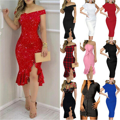£13.19 • Buy Womens Sexy Bodycon Cocktail Slim Midi Dress Ladies Summer Evening Party Dresses