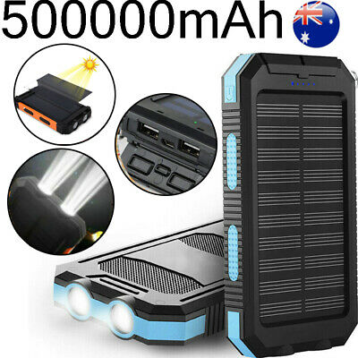 AU12.99 • Buy External 500000mAh Solar Waterproof Power Bank 2 USB Battery Charger For Phone