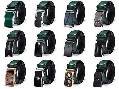 $15.74 • Buy Genuine Leather Mens Green Belts Automatic Ratchet Buckles Waist Straps Fashion