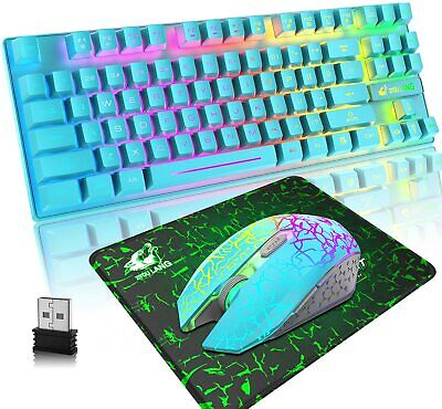 AU52.15 • Buy Wireless Gaming Keyboard Mouse And Mat Combo 87 Keys Rainbow Backlit For PC PS4