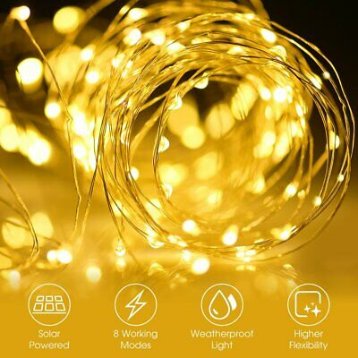 £4.99 • Buy LED Solar String Light Lights Waterproof Copper Wire Fairy Outdoor Garden Party