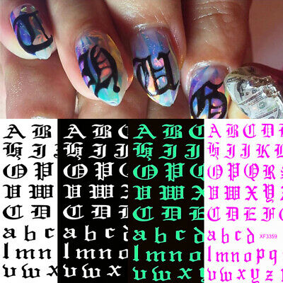 £1.79 • Buy Women Laser Nail Sticker Gothic Alphabet Number Holographics 3D Decal Nail Foils