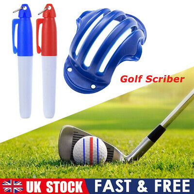 £4.84 • Buy Golf Ball Triple Track 3 Line Marker Golf Ball Marker Tool With 2 Pens UK