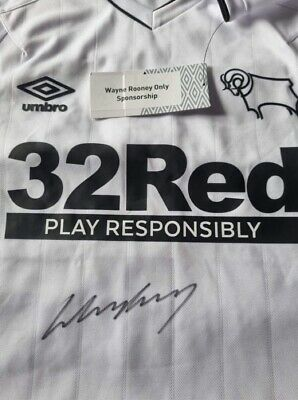 £199 • Buy CHARITY SALE - Wayne Rooney Signed Derby County Shirt 2020-2021 Autograph Jersey