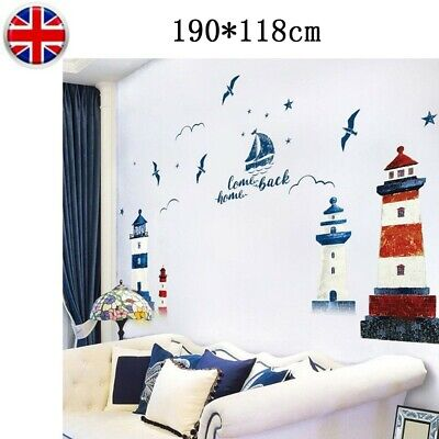 £3.99 • Buy 1 X Nautical Boat Seagull Lighthouse Sea-Ocean Home Wall Sticker Decal Art Mural