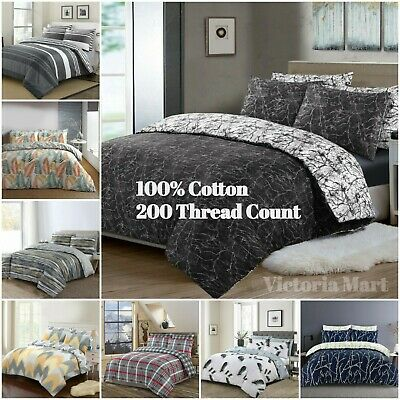 £16.99 • Buy 100% Cotton Bedding Duvet Covers Quilts Sets 200 Thread Count Single Double King