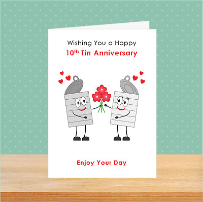 £2.69 • Buy SMALL A6 10th Tin Anniversary Card 10 Years Wedding Couples Love Cute