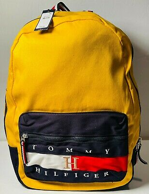 $34.98 • Buy Tommy Hilfiger Backpack Yellow Canvas Book Bag BRAND NEW