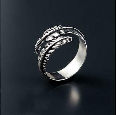 £3.80 • Buy 100% 925 Sterling Silver Feather Ring Band Open Finger Fully Adjustable Jewelry