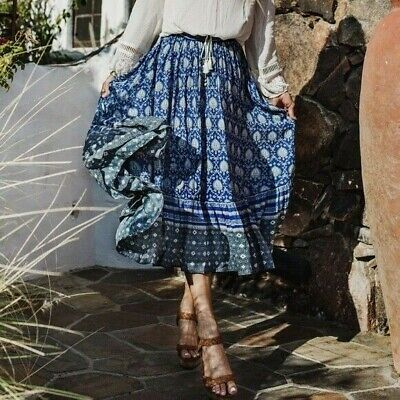 AU295 • Buy SPELL & THE GYPSY COLLECTIVE Oracle Midi Skirt In Indigo Sz XL Or 14 [sh