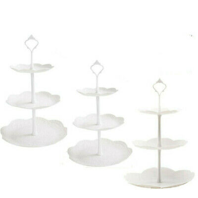 £13.99 • Buy 3x 3 Tier Cake Stand Afternoon Tea Wedding Party Plates Tableware Embossed Trays