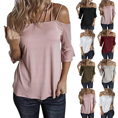 £8.79 • Buy Womens Summer Cold Shoulder Soid Tops Shirts Ladies Casual Loose Blouse T-Shirt