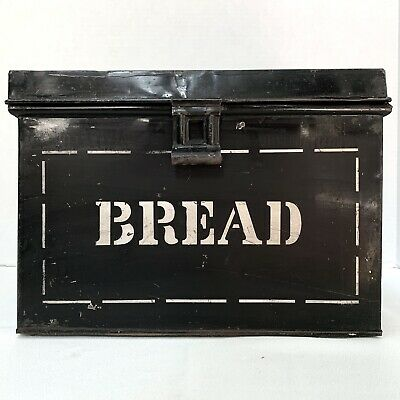 $59.95 • Buy Antique Black Painted Tin Bread Box With Lid Stenciled Metal Early 20th C