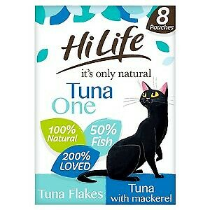 £5.68 • Buy HiLife It's Only Natural The Tuna One In Jelly Adult Cat Food  Pouches - 8 X 70g