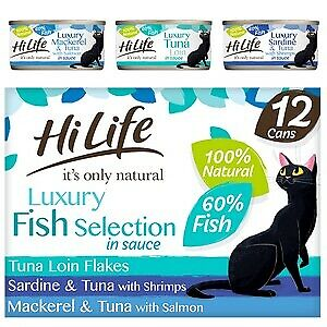£13.04 • Buy HiLife It's Only Natural Luxury Fish Selection In Sauce Wet Cat Food Cans - 12