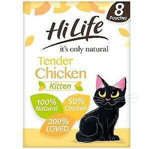 £5.68 • Buy HiLife It's Only Natural Tender Chicken Kitten Food Pouches - 8 X 70g