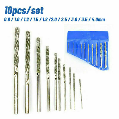 £6.99 • Buy 10x Diamond Tipped Drill Bit Set Drill Bits For Glass Tile Stone 0.8-4.0mm New