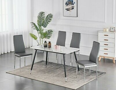 £129.99 • Buy Marble Effect Glass Top Dining Table Set With 4 Faux Leather OR 4 Velvet Chairs