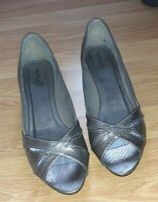 £12.99 • Buy Bhs Profile Ladies Peep Toe Shoes In Pewter/silver Size 6