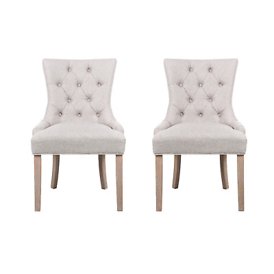 AU253.60 • Buy Artiss Set Of 2 Dining Chair Beige CAYES French Provincial Chairs Wooden Fabric