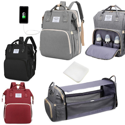 £18.99 • Buy Mummy Backpack Portable 3 In 1 Baby Nappy Changing Bag Toddler Travel Cot Bed