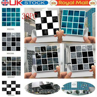 £4.99 • Buy 30x Kitchen Tile Stickers Bathroom Mosaic Sticker Self-adhesive Wall Home Decor