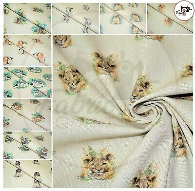 £6.99 • Buy PRINTED Cotton Rich Linen Look Fabric Curtain Upholstery Cushion 140CM WIDE