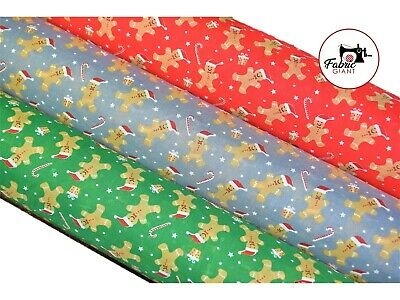 £3.95 • Buy Printed Christmas Festive Gingerbread Men Polycotton Fabric,112cm Wide