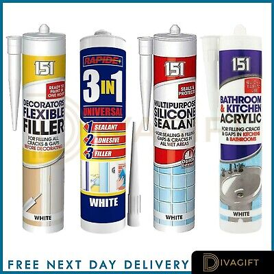 £5.44 • Buy All Purpose Silicone Sealant Filler Acrylic Clear White Brown Black Waterproof