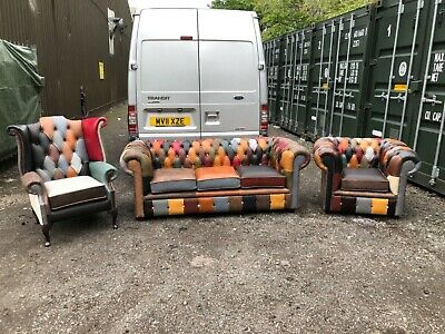 £1800 • Buy Leather Chesterfield Harlequin 3 Piece Suite Full Leather CAN DELIVER