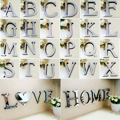 £0.99 • Buy Mirror Wall Sticker 26 Letters DIY Art Mural Home Decor Acrylic Decals Silver UK