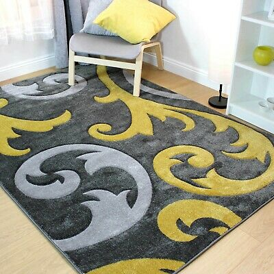 £43.95 • Buy Hand Carved Damask Silver Grey Ochre Mustard Yellow Rug Elude Soft Carpet New