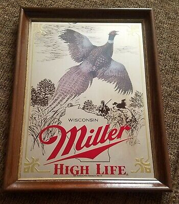 $62.99 • Buy Miller Beer Sign Mirror Wildlife 1st Edition- Wisconsin Pheasant Great Condition