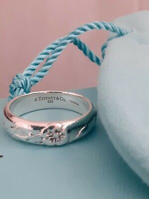 £145 • Buy TIFFANY & CO SILVER 'NATURE ROSE' RING - SIZE T1/2 - Hallmarked & Boxed