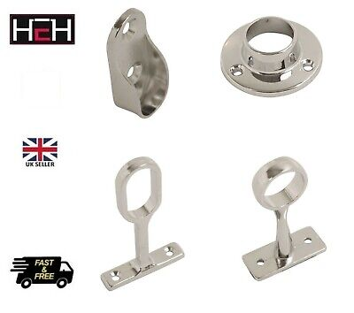 £3.49 • Buy Rail End Center Supports Brackets Oval Or Round Wardrobe Rails Poles Rod Sockets